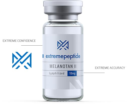 Extreme Peptides vial with logo and indicators